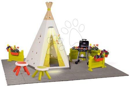 Igračke za djecu od 2 do 3 godine - Prirodni šator Indoor&Outdoor Teepee Evolutive Smoby podesiv s luksuznim piknik setom na vrtu i roštiljem od 24 mjes