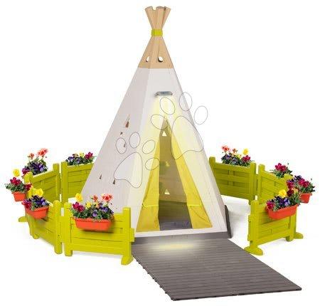 Domečky pro děti - Stan přírodní Indoor&Outdoor Teepee Evolutive Smoby nastavitelný s kulatou zahrádkou a osvětlením od 24 měs
