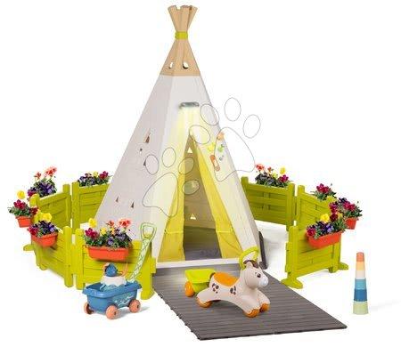 Dětské domečky - Stan přírodní Indoor&Outdoor Teepee Evolutive Smoby nastavitelný s kulatou zahrádkou pro koníka odrážedlo a vozíkem od 24 měs