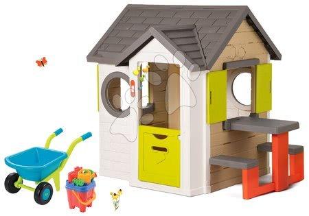 Set domček My Neo House DeLuxe Smoby so zvončekom a zadným vchodom, fúrik s vedierkom