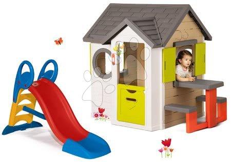 Set domček My Neo House DeLuxe Smoby so zvončekom a zadným vchodom a šmykľavka Toboggan KS stredná 1,5 m od 24 mes