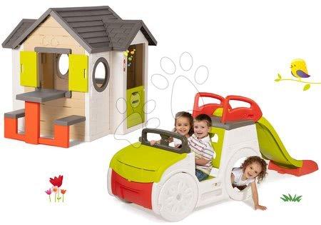 Set domček My Neo House DeLuxe Smoby so zvončekom stolíkom a preliezačka Adventure Car s pieskoviskom a šmykľavkou 1,5 m od 24 mes