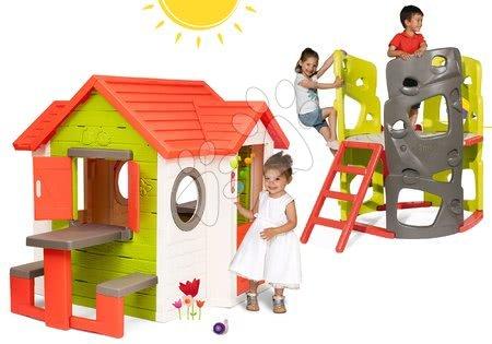 Set domček My Neo House DeLuxe Smoby so zvončekom stolíkom a preliezačka Multiactivity Climbing Tower so šmykľavkou od 24 mes