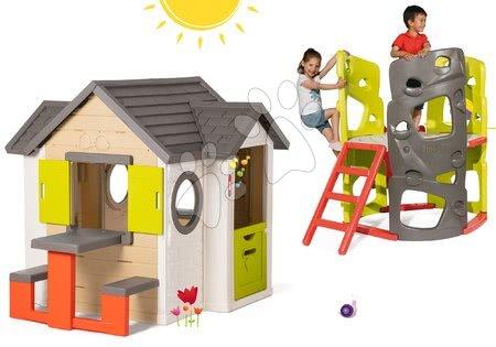 Komplet hišica My Neo House DeLuxe Smoby z zvončkom in mizico in plezalo Multiactivity Climbing Tower s toboganom od 24 mes