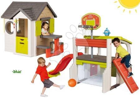Set domček My Neo House DeLuxe Smoby so zvončekom stolíkom a hracie centrum Multisport Fun Center so šmykľavkou od 24 mes