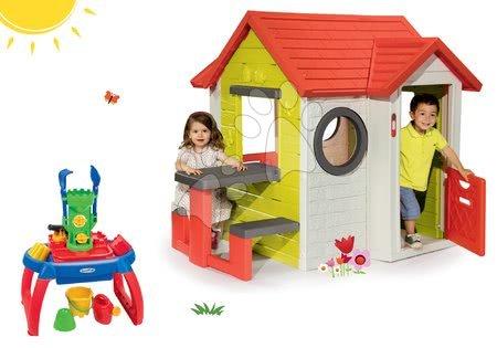 Set domček My House Smoby so zvončekom a pieskovisko stolík na vodu a piesok s 10 doplnkami od 24 mes