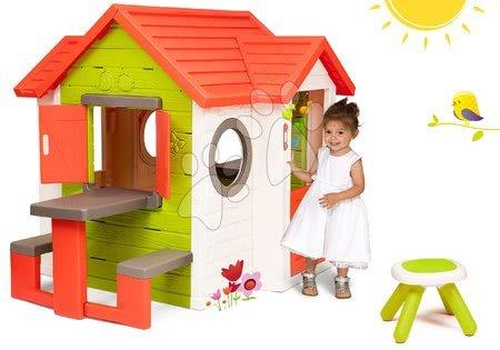 Set domeček My Neo House DeLuxe Smoby se zvonkem stolkem a dárek taburetka KidStool 2v1 od 24 měsíců