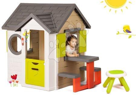 Set domček My Neo House DeLuxe Smoby so zvončekom stolíkom a darček taburetka KidStool 2v1 od 24 mes
