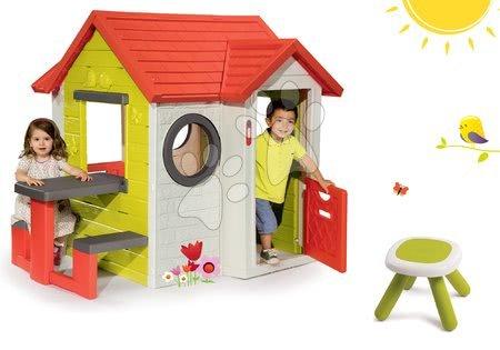 Set domček My House Smoby so zvončekom a darček taburetka KidStool 2v1 od 24 mes