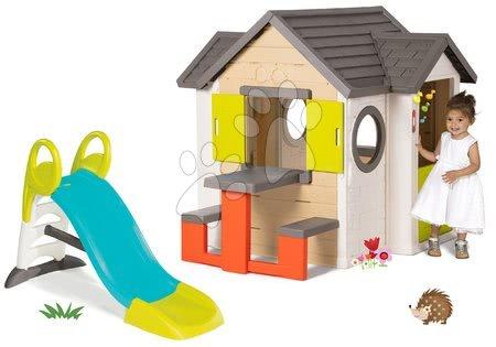 Set domček My Neo House DeLuxe Smoby so zvončekom stolíkom a šmykľavka Toboggan KS s vodou dĺžka 1,5 m od 24 mes