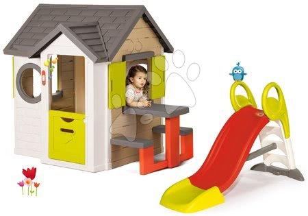 Set domček My Neo House DeLuxe Smoby so zvončekom stolíkom a šmykľavka Toboggan stredná od 24 mes