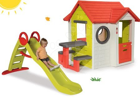Set domček pre deti My House Smoby a šmykľavka Toboggan Funny s dĺžkou 2 m od 2 rokov