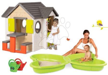 Set domček My Neo House DeLuxe Smoby so zvončekom stolíkom a pieskovisko Motýľ s vodotryskom a 1 krhlička od 24 mes