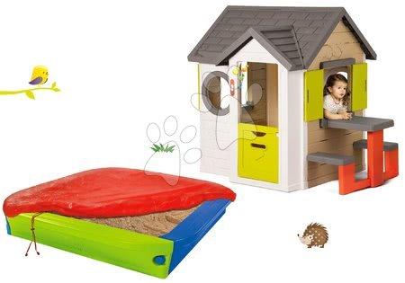 Set domček My Neo House DeLuxe Smoby so zvončekom stolíkom a pieskovisko s krycou plachtou 152 cm od 24 mes