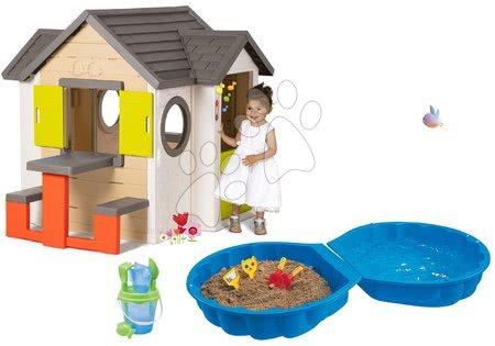 Set domček My Neo House DeLuxe Smoby so zvončekom stolíkom a dvojdielne pieskovisko Mušľa s vedro setom od 24 mes