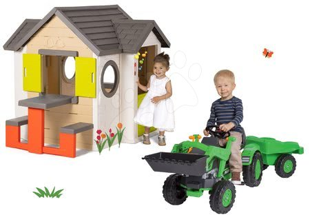 Set domček My Neo House DeLuxe Smoby so zvončekom stolíkom a traktor na šliapanie s nakladačom a prívesom od 24 mes