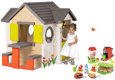 Set căsuţă My Neo House DeLuxe Smoby cu sonerie și aparat de gofri cu mixer aparat de cafea şi gofriuri de la 24 luni