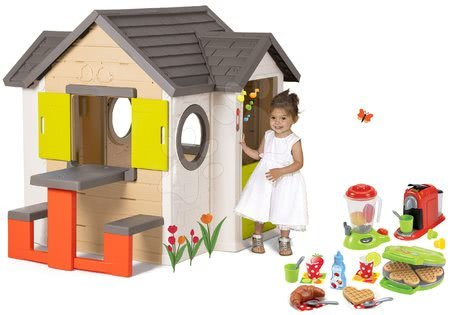Set domček My Neo House DeLuxe Smoby so zvončekom stolíkom a vaflovač s mixérom kávovarom a vaflami od 24 mes