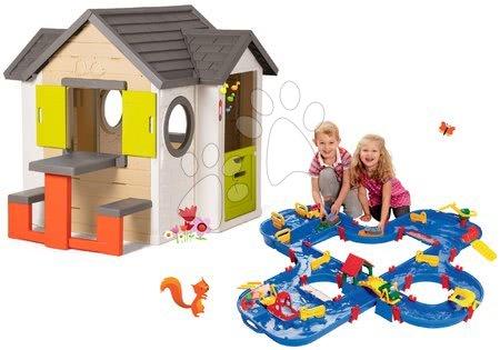 Set căsuţă My Neo House DeLuxe Smoby cu sonerie și pista de apă Aquaplay 'n Go în valiză cu baraj de la 24 luni