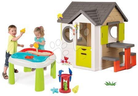 Set domček My Neo House DeLuxe Smoby so zvončekom a zadným vchodom a multifunkčný stolík Voda&Piesok 2v1 od 24 mes