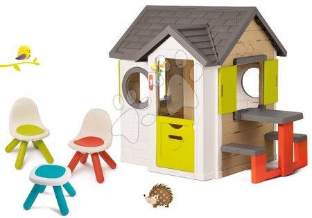 Set domček My Neo House DeLuxe Smoby so zvončekom a zadným vchodom a piknikový stôl so stoličkami KidChair od 24 mes