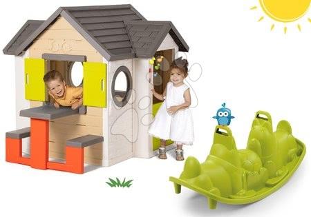 Set domček My Neo House DeLuxe Smoby so zvončekom a zadným vchodom a obojstranná hojdačka Pes od 24 mes