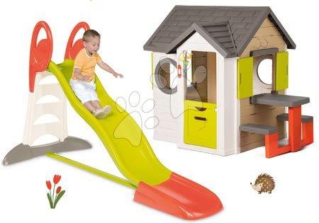 Set domček My Neo House DeLuxe Smoby so zvončekom a zadným vchodom a šmykľavka XL Toboggan s dĺžkou 2,3 m od 24 mes