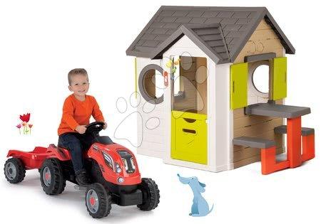 Szett házikó My Neo House DeLuxe Smoby csengővel és pedálos traktor Farmer XL pótkocsival 24 hó-tól