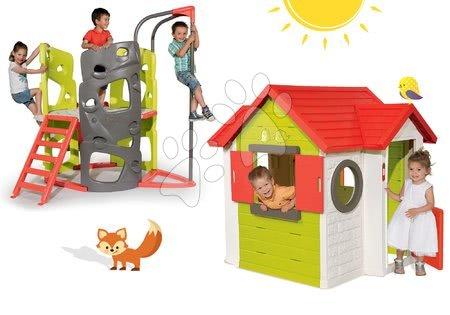 Domček My House Smoby s 2 dverami+preliezačka Multi-Activity Tower so šmykľavkou a tyčou SM810402-19