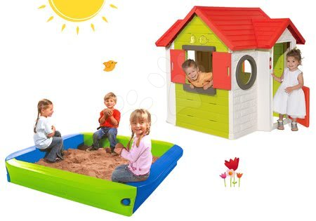 Set dětský domeček My House Smoby se zvonkem a pískoviště BIG s krycí plachtou od 2 let