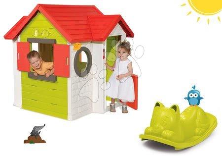 Domček My House Smoby s 2 dverami+hojdačka na zem Kocúr s uškami zelený SM810402-23-A