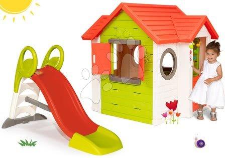 Set domček My Neo House DeLuxe Smoby s elektronickým zvončekom a šmykľavka Toboggan KS dĺžka 150 cm od 24 mes