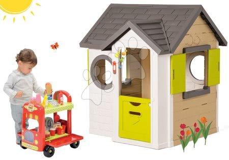 Set domček My Neo House DeLuxe Smoby s elektronickým zvončekom a vozík so zmrzlinou a hamburgermi od 2 rokov
