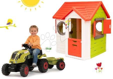 Set căsuţă My Neo House DeLuxe Smoby cu sonerie electronică şi tractor cu remorcă Claas GM de la 24 luni
