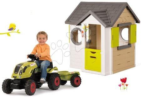 Set domček My Neo House DeLuxe Smoby s elektronickým zvončekom a traktor Claas GM s prívesom od 24 mes