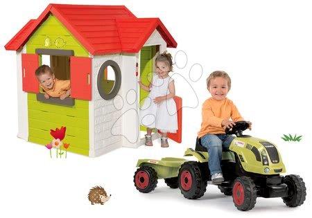Set căsuţă My House Smoby cu sonerie electronică şi tractor cu remorcă Claas GM de la 24 luni
