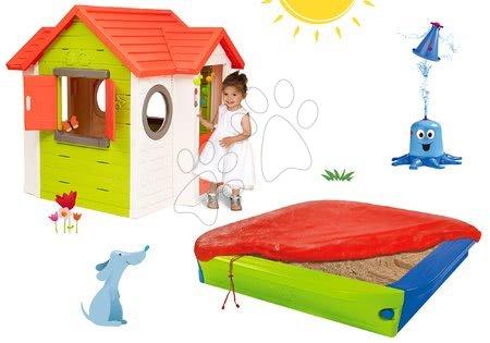 Set domeček My Neo House DeLuxe Smoby s elektronickým zvonkem a pískoviště s krytem a vodní hra