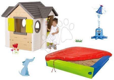 Set domček My Neo House DeLuxe Smoby s elektronickým zvončekom a pieskovisko s krytom a vodná hra