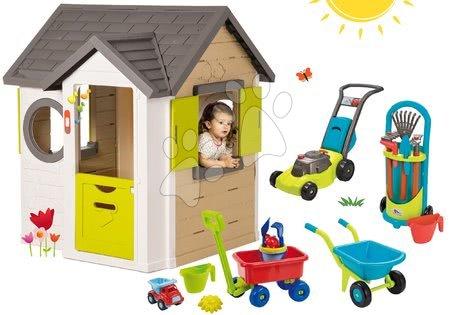 Set domček My Neo House DeLuxe Smoby s elektronickým zvončekom a vozík na ťahanie s náradím a fúrik s kosačkou
