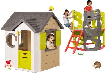 Set domček My Neo House DeLuxe Smoby s 2 dverami a preliezačka Multiactivity Climbing Tower so šmykľavkou od 24 mes