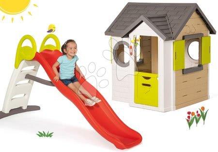 Set domček My Neo House DeLuxe Smoby s elektronickým zvončekom a šmykľavka Toboggan Funny s dĺžkou 2 m od 24 mes
