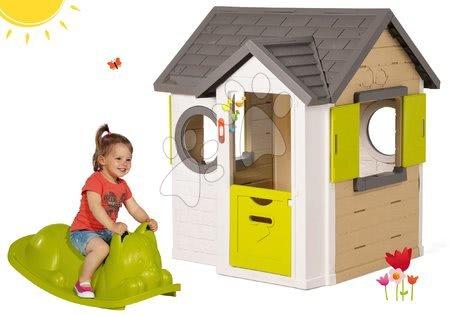 Set domček My Neo House DeLuxe Smoby so zvončekom a zelená hojdačka na zem Kocúr od 24 mes