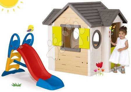 Set domček My Neo House DeLuxe Smoby so zvončekom a 2 dverami a šmykľavka Toboggan KS stredná 1,5 metrová od 24 mes