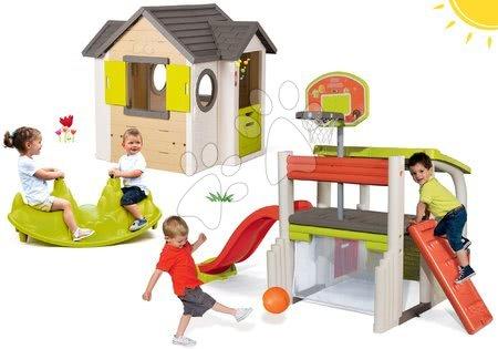 Set domček My Neo House DeLuxe Smoby so zvončekom a 2 dverami a hracie centrum MultiSport Fun Center so šmykľavkou a hojdačkou Pes od 24 mes