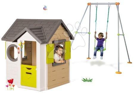 Set domček My Neo House DeLuxe Smoby so zvončekom a 2 dverami a hojdačka Portique s kovovou konštrukciou 180 cm od 24 mes