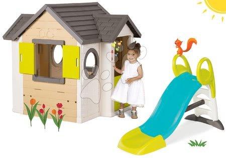 Set domček My Neo House DeLuxe Smoby so zvončekom a 2 dverami a šmykľavka Toboggan KS s vodou dĺžka 1,5 m od 24 mes