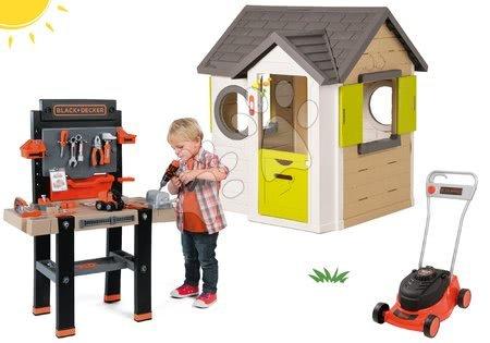 Set domček My Neo House DeLuxe Smoby so zvončekom a 2 dverami a kosačka na trávu Black&Decker s pracovnou dielňou od 24 mes