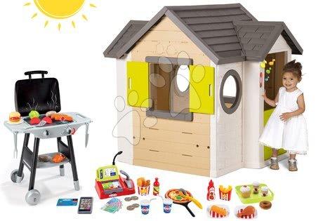 Set domček My Neo House DeLuxe Smoby so zvončekom a 2 dverami a kuchynka Barbecue Grill s potravinami od 24 mes