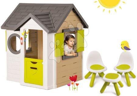 Set domček My Neo House DeLuxe Smoby so zvončekom a 2 dverami a 2 stoličky a stolček KidChair od 24 mes