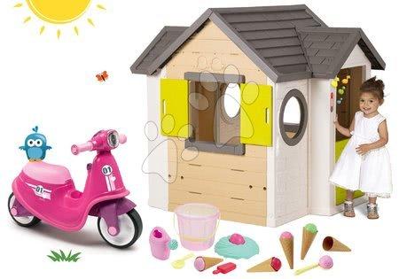 Set domček My Neo House DeLuxe Smoby so zvončekom a 2 dverami a odrážadlo s gumenými kolesami a vedro so zmrzlinou od 24 mes